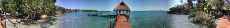 The Dock at Rancho Encantado Eco-Resort on Laguna Bacalar, Mexican Caribbean